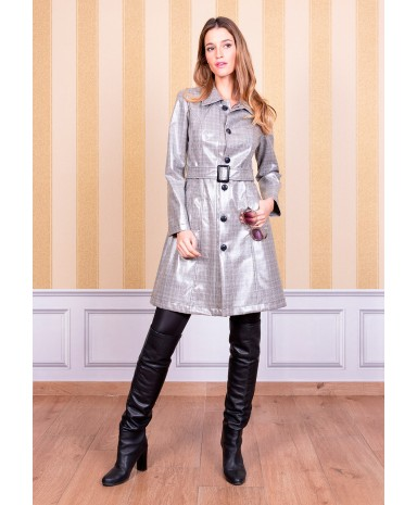Welsh check trench coat