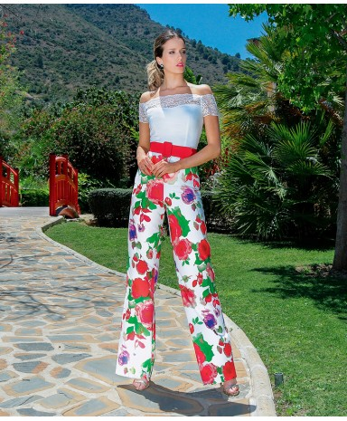 High-waisted printed satin trousers